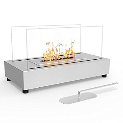 Regal Flame Avon Tabletop Portable Bio Ethanol Fireplace in Stainless Steel