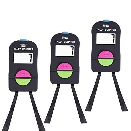 QUACOWW 3 Stück Digitaler Handzähler Elektronisches Hinzufügen und Subtrahieren, Manueller Klicker mit Umhängeband für Golf-Sportarten