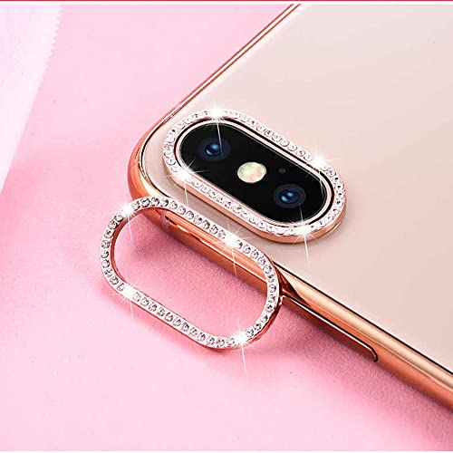 Best Shopper - Glitter Rhinestone Camera Lens Film Protective Case Lens Protector For Apple iPhone XS Max - Rose Gold