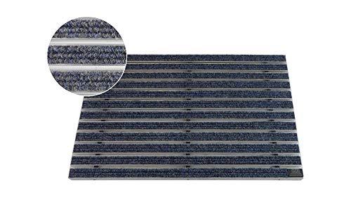 EMCO Entreemat DIPLOMAT Rips blauw 22mm deurmat vuilvangmat deurmat antislipmat 740 x 490 mm