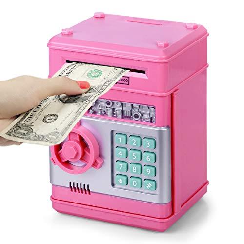 Highttoy Kinder Sparschwein für 4-14 Jahre, Geld sicher für Jungen Geburtstagsgeschenk für 3-12 Kinder Elektronischer Geldautomat Geldbank für Erwachsene Geldsparbox Sicheres Münzfach Spielzeug Pink