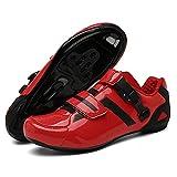 KUXUAN Zapatillas de Ciclismo Zapatillas de Bicicleta de Carretera para Hombre y Mujer con Zapatillas de pelotón de Cala para Montar en Bicicleta con Aspecto SPD compatibles,Red-43EU
