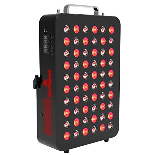 Bestqool Red Light Therapy Device, 660nm 850nm Near Infrared Therapy with Timer, 60 LEDs, Clinical Grade High Power Low EMF Output LED Light Therapy for Anti-Aging, Pain Relief. 95W Power Consumption.