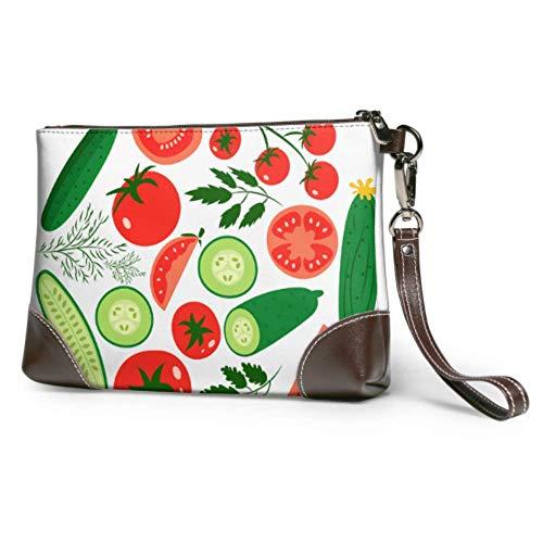 Hdadwy Weiche wasserdichte Wristlet Clutch Bag Rote Tomaten und reife Gurken Travel Wallet Wristlet mit Reißverschluss für Frauen Mädchen