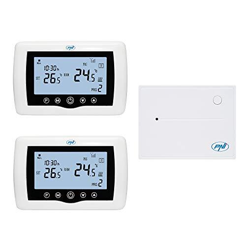 Termostato inteligente PNI CT400 inalámbrico, con WiFi, control de 2 zonas vía Internet, para centrales térmicas, bombas, electroválvulas, APP TuyaSmart, histéresis 0,2 grados C