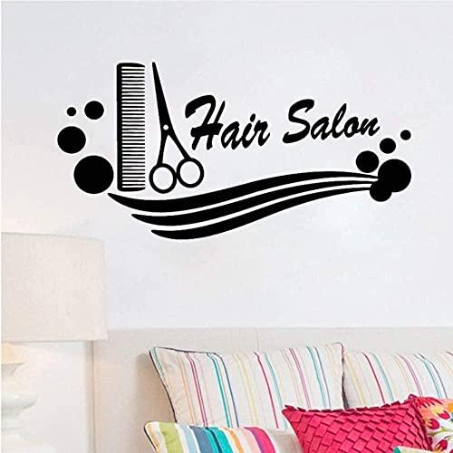 Arte de pared barbería vinilo calcomanía peine tijeras peluquería corte de pelo pegatina de pared peluquería para peluquería escaparate decoración 56X28cm