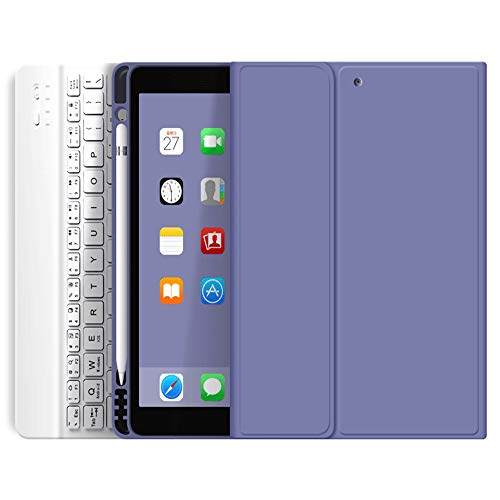 Aoub Keyboard Case for iPad Air 4 10.9 Inch 2020 - [Built-in Pencil Holder] Soft TPU Back Cover with Magnetically Detachable Wireless Bluetooth Keyboard case (ipad Air4 10.9 case(2020), Purple)