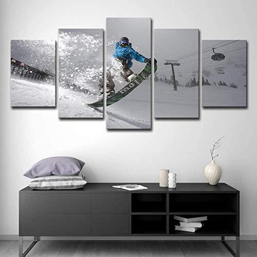 Looaceo® Wandkunst Hd Gedruckte Leinwand Malerei Poster Home Decoration 5 Panel Sportdrucke Auf Leinwand Wandkunst Schnee Berg Landschaft Malerei Snowboard Poster Skidruck 78,7 * 39 Zoll 200 * 100 cm