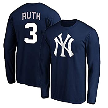 Outerstuff MLB Youth 8-20 Team Color Alternate Primary Logo Name and Number Long Sleeve Player T-Shirt  Babe Ruth New York Yankees Navy 10-12