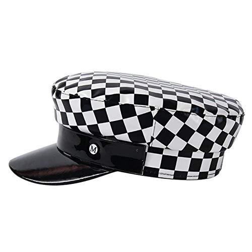 QFWM - Gorra de cuadros para mujer, color negro y blanco y negro