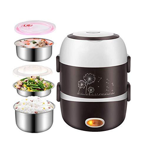 Rijstkoker, Multi-Function rijstkoker, roestvrijstalen voering, eierkoker Steamer, voedsel Geïsoleerde Lunch Box, 2L Capaciteit, gemakkelijk schoon te maken, Full Rice Koken Smaak AQUILA1125