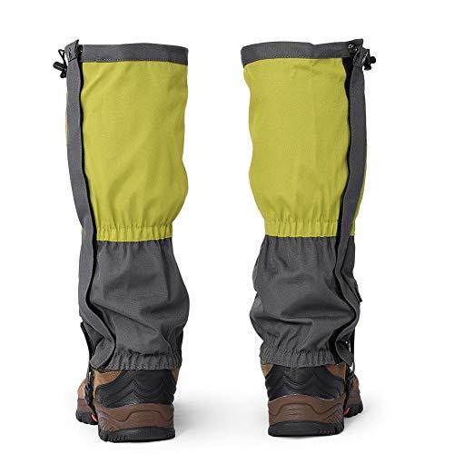 Dilwe 1 par de Polainas para Las piernas al Aire Libre, Impermeables, a Prueba de Viento, para Botas de Nieve, para Senderismo, Caminar, Caminar, Acampar, Escalar, Cazar, Pescar(Verde)