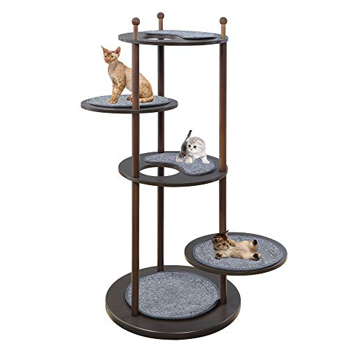 unipaws Wooden Cat Activity Tree with 2 Rotatable Platforms, Multi-Level Cat Climbing Play Tower with Removable Scratching Mats, Pet Furniture for Cats Kittens, Espresso