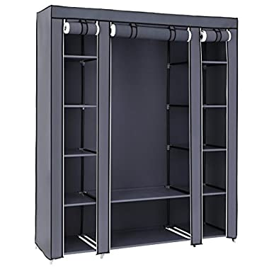 SONGMICS 59  Closet Organizer Wardrobe Closet Portable Closet shelves, Closet Storage Organizer with Non-woven Fabric, Quick and Easy to Assemble, Extra Strong and Durable, Gray ULSF03G