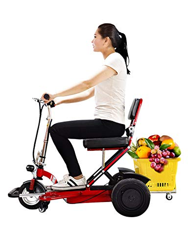 N/Z Life Equipment Patinete de Movilidad de 3 Ruedas Silla de Ruedas móvil eléctrica para Personas Mayores Patinete de Viaje Plegable y Compacto para Adultos con batería extendida de Largo Alcance