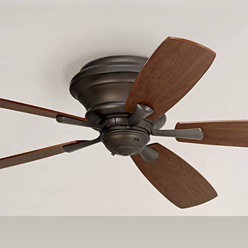 """52"""" Casa San Marin Hugger Ceiling Fan Flush Mount Oil Rubbed Bronze Walnut for Bedroom Kitchen Living Room Family Dining - Casa Vieja"""