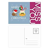 クリスマスギフトクリスマスフェスティバルのヘラジカ ポストカードセットサンクスカード郵送側20個ミス