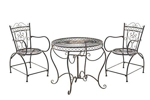 CLP Set Giardino Rustico Sheela in Ferro con Tavolo (Ø 76 cm) + 2 Sedie, Colore:Bronzo
