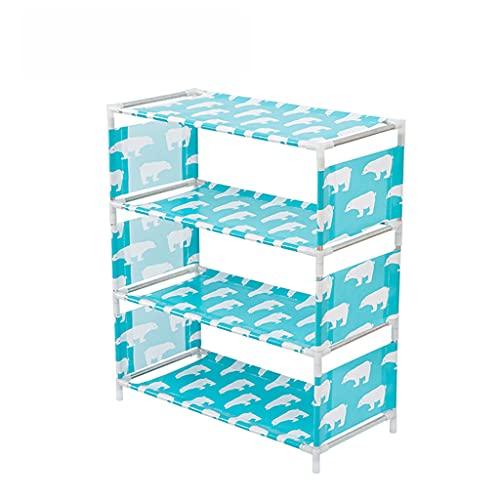 DOOR Organizador de zapatos fácil de montar para el hogar, ajustable y ligero, ahorro de espacio, organizador de zapatos de metal, estante de almacenamiento (azul, verde)