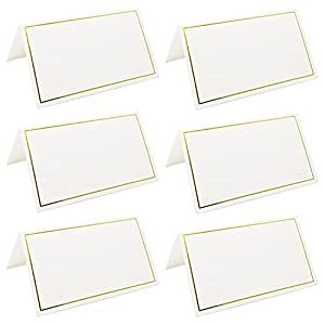 XINGLIAN 50 Pcs Tent Cards with Gold Foil Border for Weddings, Banquets, Events, 2 x 3.5 Inches.