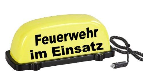 PACO Deutschland e.K. Dachschild City - gelb - Feuerwehr im Einsatz - LED Blinklicht und Dauerlicht - Dachaufsetzer