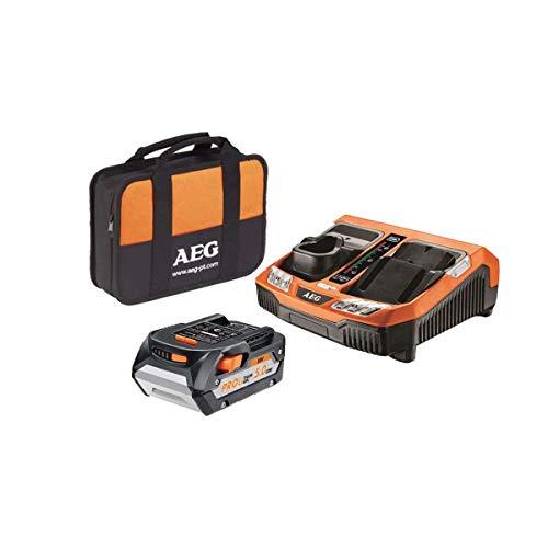 AEG 4932451629 Chargeur Rapide Multi-Plateformes 18V Li-ION-1 Batterie 5.0Ah-SETL1850BLK, Orange, Standard