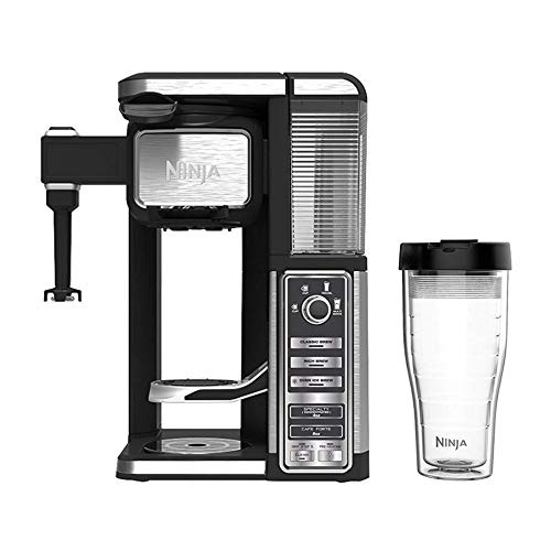 Ninja CF112 Coffee Bar Single-Serve System w/Auto-iQ One-Touch Intelligence Technology, 12.2 x 11 x 16.3 Black/Silver (Renewed)