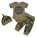 Jurebecia 3pcs Niños Bebes Set de Ropa Daddy'S Boy Conjuntos a Juego Camuflaje Camiseta de Manga Corta+Pantalones+Sombrero 6-12M