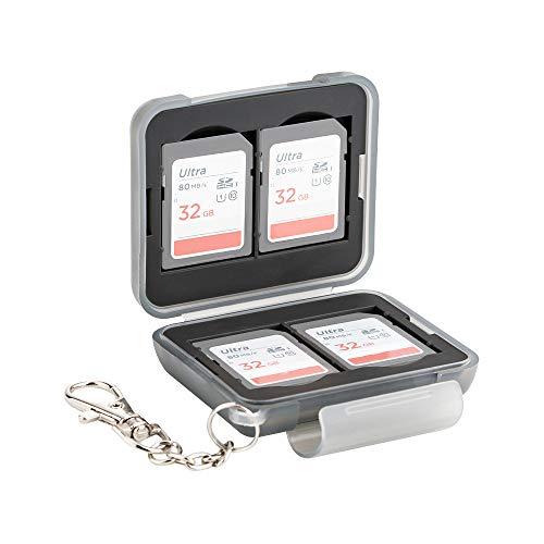 PROfezzion Multi Memory Card Case Speicherkarten Schutzbox für 4 x SD SDHC SDXC Karten - mit Karabiner mit Kurzer Kette Wasserdicht und Stoßfest Box Safe Tasche