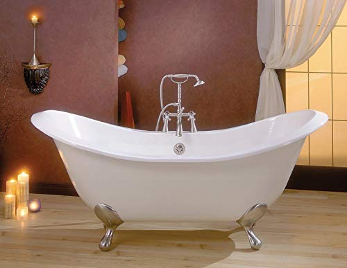 Review Cheviot REGENCY Cast Iron Bathtub with Faucet Holes | Clawfoot Bathtub | Cast Iron | White In...
