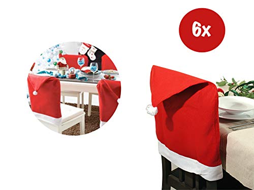 TK Gruppe Timo Klingler 6X Stuhlhusse Überzug Stuhlüberzug Stuhl Husse rot Weihnachten Advent Überzieher Stuhl Deko Dekoration