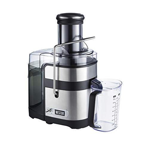 Weston Powerful Juicer Machine with XL 3.5' Feed Chute, BPA Free, 1100W, Easy Sweep Cleaning Tool (67902), Silver