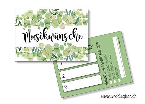 Hochzeit 50 Musikwunschkarten A7 Musikwunsch Hochzeit Hochzeitsfeier 10,5 x 7,4cm Eukalyptus