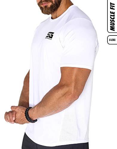 Satire Gym - Herren Fitness - atmungsaktives Sport T-Shirt Männer - für Training (weiß, L)