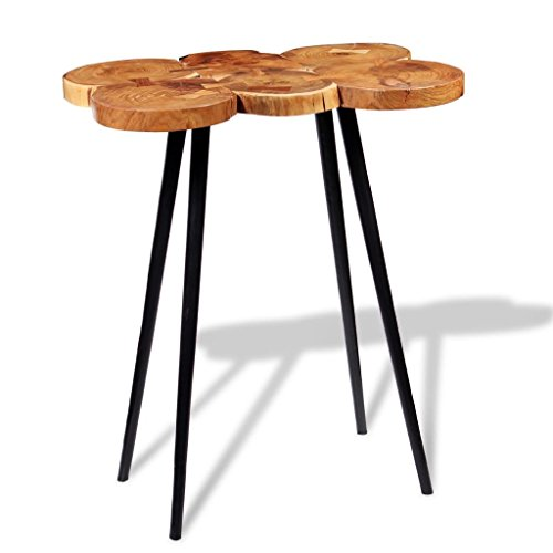 SENLUOWX Table de Bar de Tronc en Bois Massif d'acacia 90 x 60 x 110 cm
