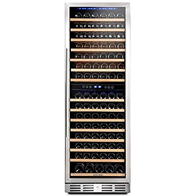 Kalamera 157 Bottle Freestanding Wine Cooler Refrigerator With Stainless Steel, triple-layered Tempered Glass Door, Electronic One-Touch Control with LED Display Wine Fridge