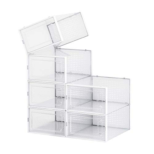 PARANTA Clear Shoe Storage Box Plastic,Foldable And Stackable Set Of 6 For Storage And Display Of Men And Women Shoes White Medium