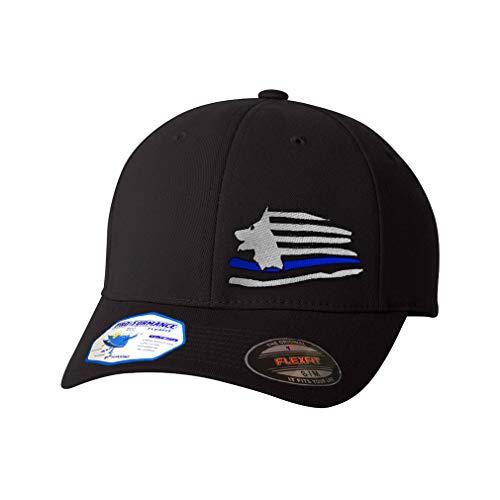 Flexfit Left Side Panel K-9 Thin Blue Line Flag Embroidery Hats for Men & Women Polyester Black Large XLarge