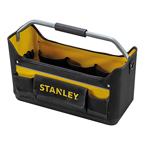 Stanley Werkzeugtrage / Werkzeugtasche (44.7x27.7x25.1cm, 600 Denier Nylon, ergonomischer Gummihandgriff, wasserdichter Kunststoffboden, Schultergurt und Tragebügel) 1-96-182