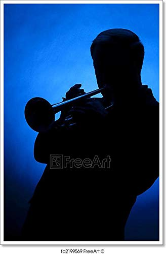 Trumpet Player Silhouette Against Blue Spot Light Paper Print Wall Art (36in. x 24in.)