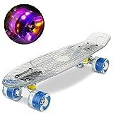 """WeSkate Mini Complete Cruiser Skateboard 22"""" mit LED blinkt Räder"""
