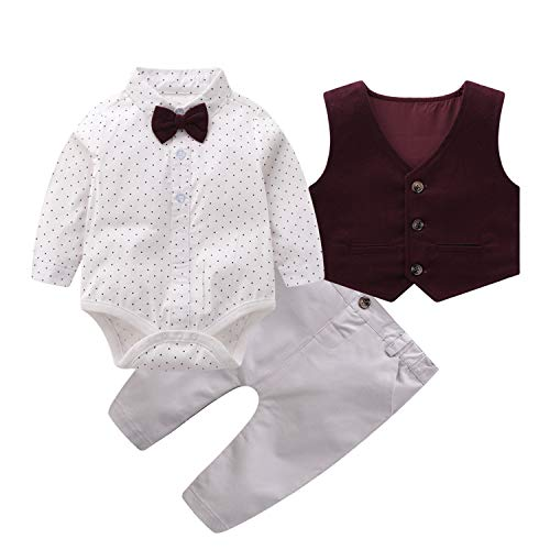 Baby Boys Gentleman Outfits Suits, Infant Long Sleeve Shirt+Bib Pants+Bow Tie +Vest Clothes Set,6-9M Brown
