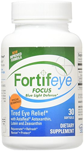 Fortifeye Focus Eye Care Supplement, Complex Mix of Macular Carotenoids Including Astaxanthin, Lutein, and Zeaxanthin - 30 Softgel Capsules