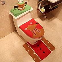 BOZLIZ - Toilet Seat Covers - Tpxckz Elk Toilet Seat Cover Christmas Wc Bath Mat Holder Foot Pad Bathroom Tank Set Home Living - Pink Rugs Brighton Rest Commercial Toilet Islamic Reusable Large Disp