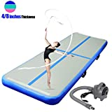 ChampionPlus 13ft Air Track Tumbling Mat Inflatable Gymnastics Mat 4/8 inches Thickness Airtrack Tumbling Mats for Home Training Cheerleading Yoga with Electric Air Pump (Blue,13'x 3.3'x 4'')