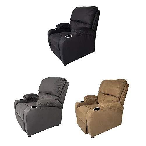 Sillon RECLINABLE Sofa BUTACA Relax REPOSAPIES Posavasos 3 Colores Garantia (Black)