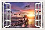 ZRSCL 3d fensteransicht meer strand wandaufkleber brücke sonnenuntergang tapete für wohnkultur wandkunst poster und drucke wandbild80cmx120cm