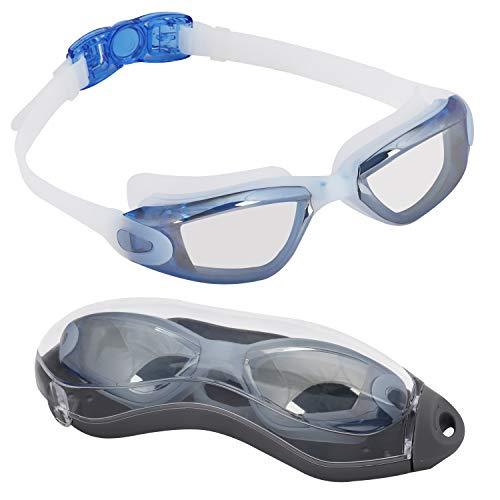 BEZZEE PRO Lunettes de Natation pour Adultes avec étui de Protection - UV lentille de Miroir de Protection/Coloré Lunettes, incassables, imperméables-Lunettes de Piscine - Idéales pour Hommes, Femmes