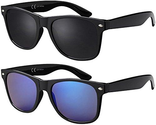 La Optica B.L.M. Herren Sonnenbrille UV400 CAT 3 Damen Unisex Retro Vintage - Doppelpack Set Glänzend Schwarz (Gläser: 1 x Grau, 1 x Blau Verspiegelt)