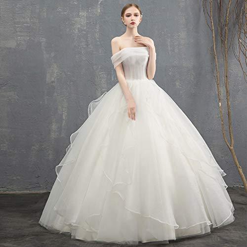 CJJC Prinzessin Traum Brautkleider, einfache Tüll schlanke rückenfreie bodenlangen Geraffte Kleider, ideal für die Braut Zeremonie Party Bankett, Geschenk Customized